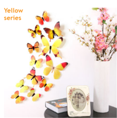 12 butterfly wall stickers with 3D stereo color simulation A living room Children's room decorate yellow 12 butterflies