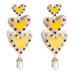Major suit Exaggeration Artificial gem Golden Earrings Multi-storey Set in drill Acrylic Ear Studs yellow one size