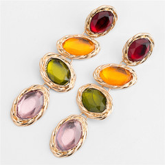 Exaggeration Major suit alloy Colourful Acrylic gemstone Water drop Earrings Multi-storey Ear Studs yellow one size