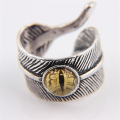 Fashion Restoring ancient ways gemstone Feather Thai silver Man woman Lovers ring yellow Adjustable opening