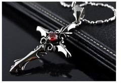 Trend fashion Vampire Diaries Cross Pendant Man woman Red Diamond Titanium necklace Vampire Diary red one