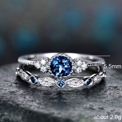 New pattern Mosaic gem Engagement ring fashion   Wild Joker   Plate with silverrings for women Navy blue number 9