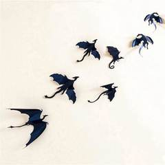 MCDFL 7pcs/Set Gothic Dragons Wall Sticker Inspired 3D Dragon Wallpaper PVC Wall Stickers Home Decor Black 2 Set