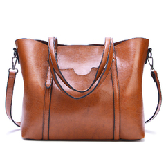 Soft Leather Handbag Big Capacity Tote Shoulder Crossbody Bag Bags for Women brown one size