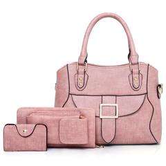 3PCS Bags Set Women Shoulder Handbag Tote Satchel Messenger Bag + Purse + Card Case pink one size