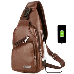 Men Chest Bag Leather Sling Shoulder Backpack Crossbody Bag with USB Charging Port brown one size