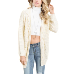 Boho Long Sleeve Open Front Chunky Warm Cardigans Pullover Sweater for Ladies Women beige s