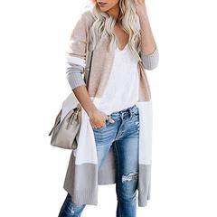 Open Front Color Block Boho Long Sleeve Knit Long Dusters Cardigan Sweaters for Women khaki s
