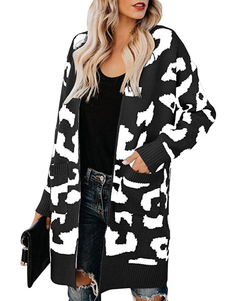 Long Sleeve Open Front Leopard Print Knit Long Cardigan Casual Sweater Coat with Pockets for Women black s