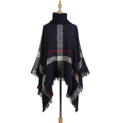 High Collar Boho Loose Tassel Plaid Poncho Knit Pullover Sweater Cape for Women black one size