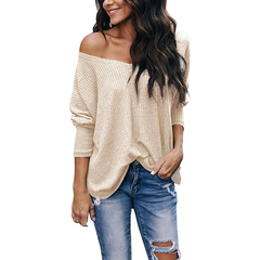 Women's Casual Off Shoulder Tops V Neck Long Sleeve Knit Shirt Sweater for Ladies Women beige s