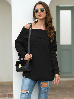 Sexy Off Shoulder Long Sleeve Loose Oversize Knit Jumper Pullover Sweater for Women black s