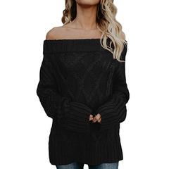 Loose Knitted Off Shoulder Long Sleeve Oversize Knit Jumper Pullover Sweater for Women black s