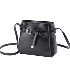 Belt Design Small Bucket Crossbody Bag PU Leather Handbag Purse for Women black one size