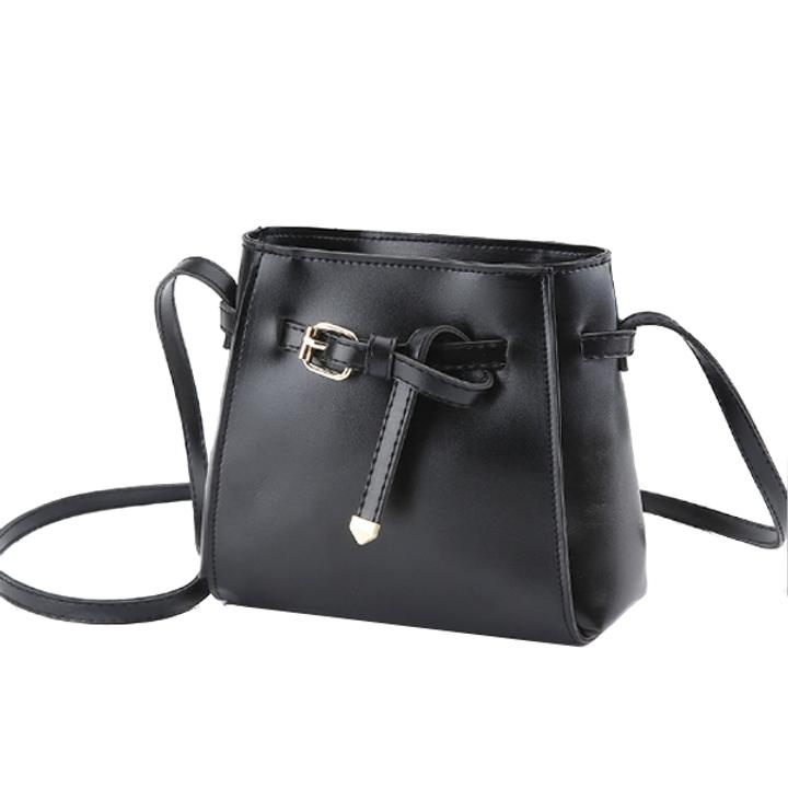 Belt Design Small Bucket Crossbody Bag PU Leather Handbag Purse for Women black one size