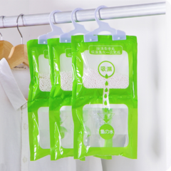 5 Packs Wardrobe dehumidifier Hanging Hygroscopic Anti-Mold Deodorizing Moistureproof Desiccant Bag Green 35*16 cm