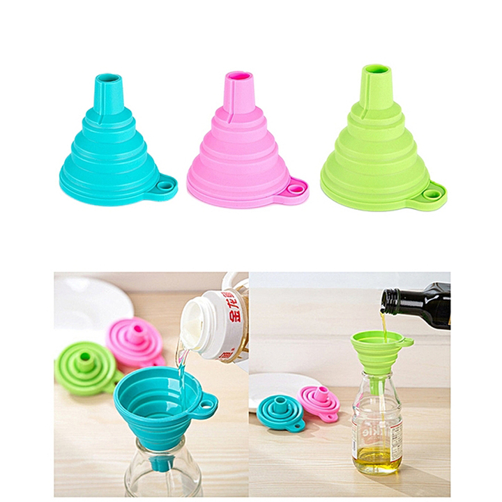 3pcs/set Generic Silicone Water Bottle Collapsible Funnel Foldable Funnel for kitchen products 3 Colors/set Normal