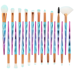 4\12\20pcs Brushes Makeup Tools Foundation Eyebrow Eyeliners Blush Cosmetic Concealer Brush Girls 20pcs-Pink&Blue