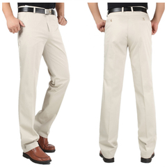 Men's Classical Pant&Trousers Khaki Work To Weekend Plain Front Pant for party/Business men Clothes Creamy White 29