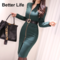 Ladies Vintage Sleeve Belt Business Pencil Dresses,Women's Office Skirts,Party Jumpsuits&Suits As pictures M