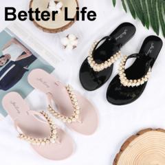 Women's Pearl T-Strap Slippers non-slip Flat flip flops Fashion Sandals Beach Wedding Ladies Shoes Pink 36