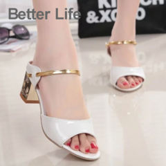 Women's Fashion Mid Heel Sandals comfort Ladies Slippers for Summer Party wedding women's shoes white 35