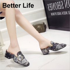 Women's Rhinestone Print Casual Sandals&Shoes,Ladies Fashion comfort party Flip Flops&slippers Black 35