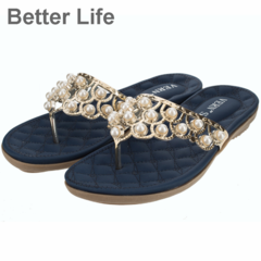 Summer Flat Gladiator Sandals for Women Comfort Casual Beach Shoes Plat Bohemian Beaded Flip Flops Blue 35