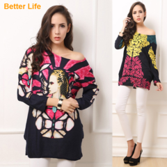Beading Printed Off Shoulder Tops Long Sleeve Dresses Pleated Casual Suits Flare Tunic Blouse Shirt Red Free Size