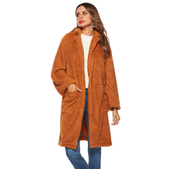 Ladies Warm Long Plush Coats Hooded with pocket jacket long sleeve soft tops Windbreaker 1 S