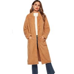 Ladies Warm Long Plush Coats Hooded with pocket jacket long sleeve soft tops Windbreaker 4 XL