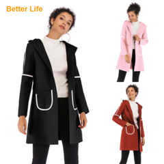 Women's Basic Essential Mid-Long Wool Jackets Blend Pea Woolen Coats Fashion Ladies office Dresses Black M