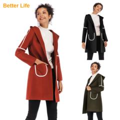 Women's Basic Essential Mid-Long Wool Jackets Blend Pea Woolen Coats Fashion Ladies office Dresses Brown XL