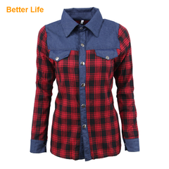 Classic Denim Red Plaid Shirt Leisure Business Style Fashion Women's Tops Long Sleeves Clothes As Pictures S
