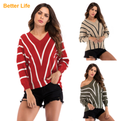 V Neck Over Size Long Bat Sleeve Tops Women Loose Knitting Sweater Shirt Fashion Bottoming shirt Red M