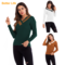 V Neck Knit Long Sleeve Slim Sweater Stretchable Elasticity Casual Tops Fashion Bottoming Shirts Green M