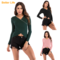 Sexy Lumbar V-neck Umbilical Primer Tops Long Sleeve Beading Sweaters Slim fit Shirts Party Shorts Green M