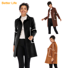 Fashion Ladies Simple Woolen Coats Fitted Design Women's Jackets Outdoor Overcoats Vests Back M