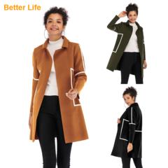 Fashion Ladies Simple Woolen Coats Fitted Design Women's Jackets Outdoor Overcoats Vests Khaki XL