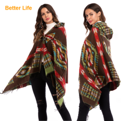 Fashion Ladies Elegant Cardigans Ethnic Shawls Soft Cotton Wraps Breath Hooded Sweaters Overoats Coffee Free Size