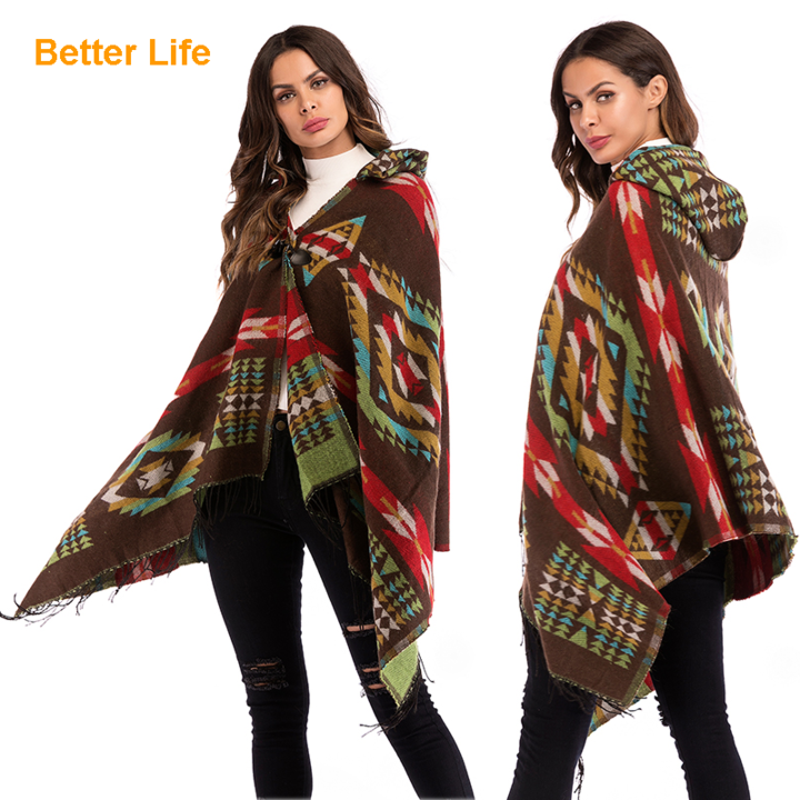 Fashion Ladies Elegant Cardigans Ethnic Shawls Soft Cotton Wraps Breath Hooded Sweaters Overoats Coffee Free Size