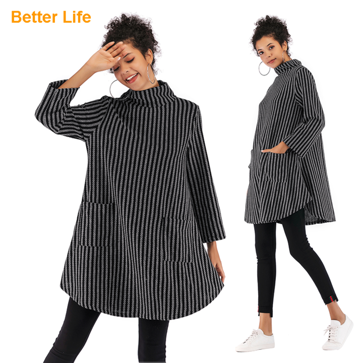 Over Size Soft Long Coats Packets Jackets High Neck Sweaters Batwing Sleeve Cloaks Solid Shawls Strip-Black M