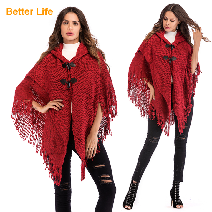 Fringed Hooded Batwing Sleeve Shawls One Size Soft Cloaks Horn Buckle Flowing Tassels Jackets Coats Red Free size