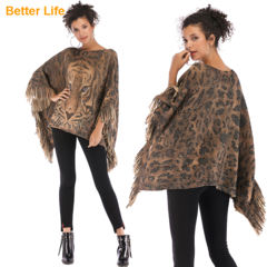 Retro Tiger Tassel Cloaks Sleeves Neck Collar Knit Jackets Camouflage Soft Sweater Quality Shawls As pictures Free size