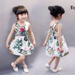 D-baby 1pc Lovely baby kids girl butterfly print sleeveless dress girls dress XQ010A 90(80CM)
