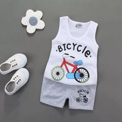 D-baby 2Pcs Kids Baby Girls Cat sleeveless shirt+ shorts Outfits Clothes Set XJ001A 90(1-2Y)
