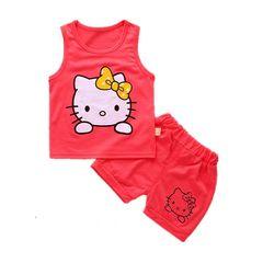 D-baby 2Pcs Kids Baby Girls Cat sleeveless shirt+ shorts Outfits Clothes Set KA004A 80CM