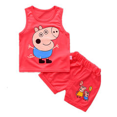 D-baby 2Pcs Kids Baby Girls Cat sleeveless shirt+ shorts Outfits Clothes Set KA005A 80CM