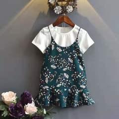D-baby Girls'Dresses 2 Sleeveless Dresses + T-shirts Girls' Party Wedding Princess Dresses MG001B (100cm)