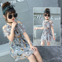 D-baby Fashion, Temperament, Girl Chiffon Printed Dresses, Chiffon Open Shoulder Dresses 1 110(90cm)